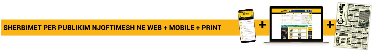 Shërbimet për publikim njoftimesh në web + mobile + print